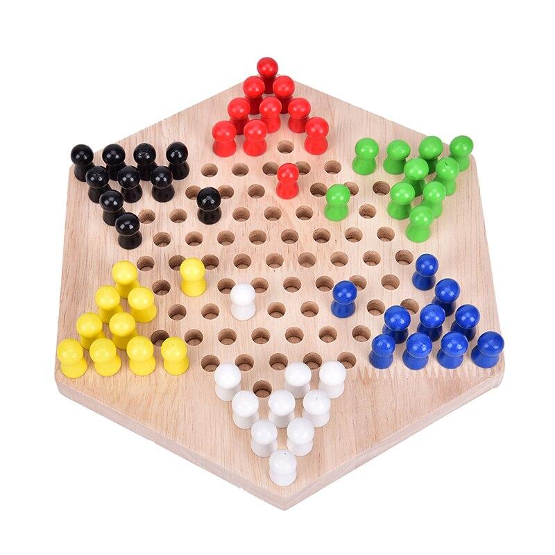 Лидер продаж! 1 набор самых популярных традиционных шестиугольных деревянных китайских шашек, набор семейных игр
