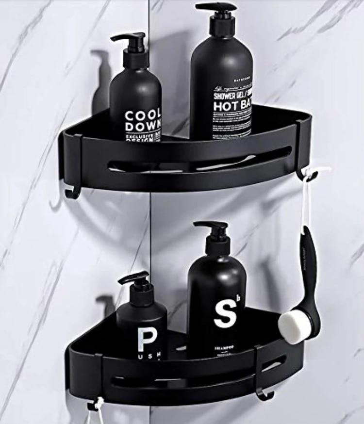 vacuum sucker corner shower caddy with hooks rack for shower bathroom combe shampoo organizer kitchen tool