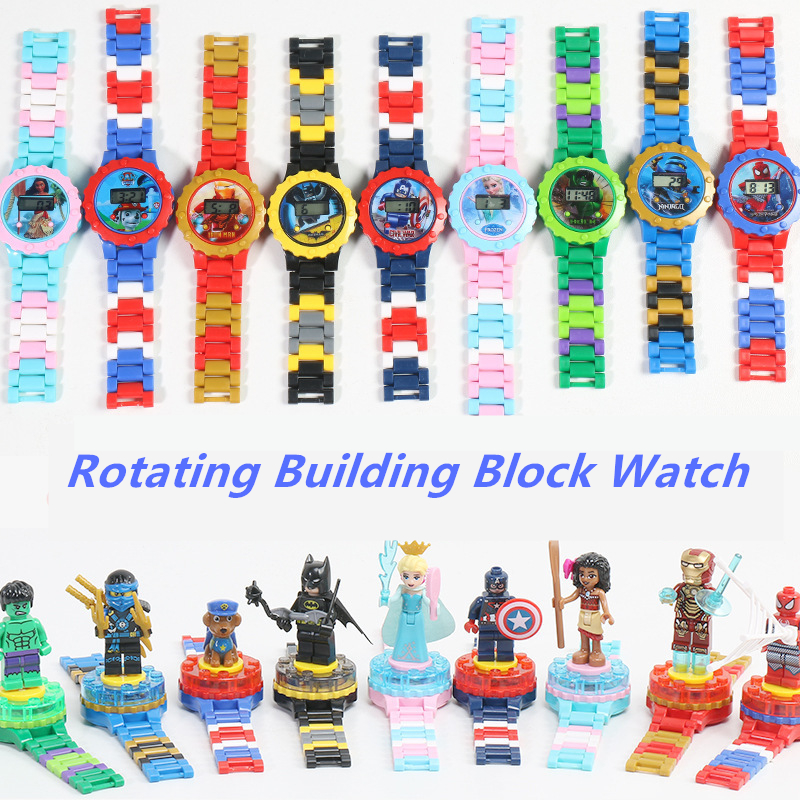 Spiderman Avengers Building Blocks Toys Kids Watches Bricks Compatible Legoingly Ninjaoingly Super Hero Marveling Children Watch