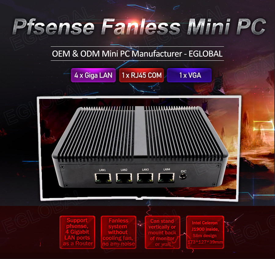 Eglobal Pfsense Fanless Mini Pc Intel Celeron J1900 4*Intel WG82583 Gigabit RJ45 Lan Firewall Router Security Server Computer