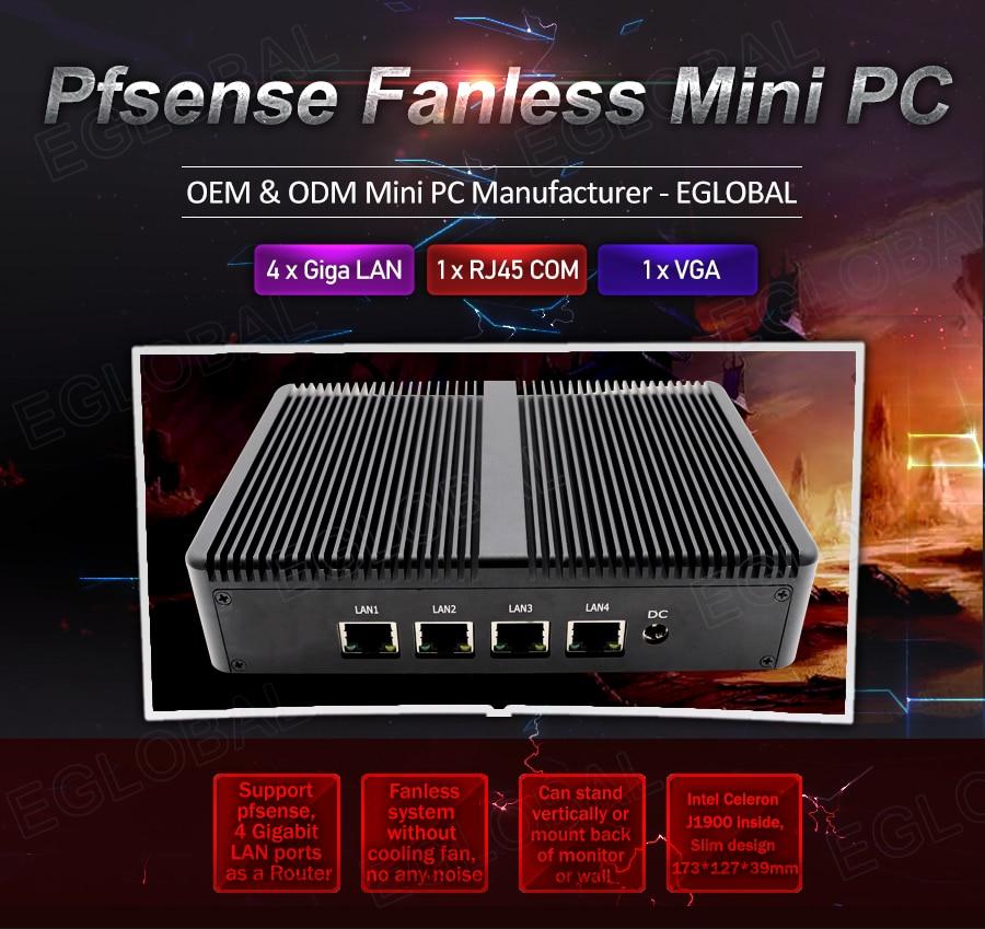 Eglobal Pfsense Fanless Mini Pc Intel Celeron J1900 4*Intel WG82583 Gigabit RJ45 Lan Firewall Router Security Server Computer