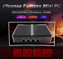 Eglobal Pfsense безвентиляторный мини-ПК intel celeron J1900 4 * intel WG82583 гигабитный RJ45 Lan брандмауэр маршрутизатор безопасность серверный компьютер
