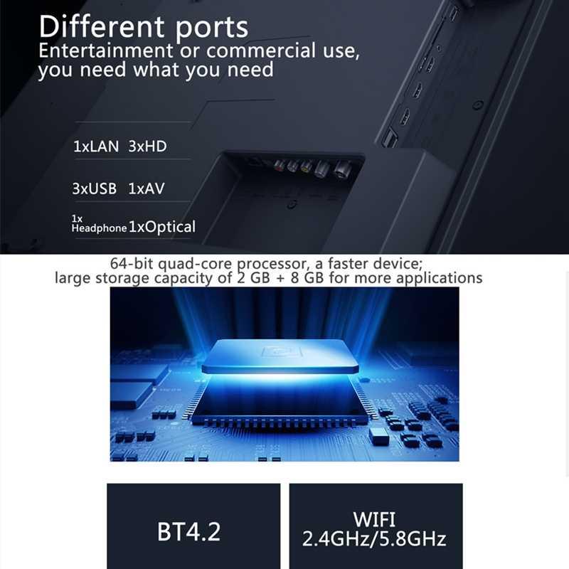 Xiaomi TV 4S 4K HDR Smart TV 2 + 8GB 43 Cal 3840x2160 HD 2.4G/5.8G 5G WIFI bluetooth 4.2 Android 9.0 międzynarodowa wersja ES