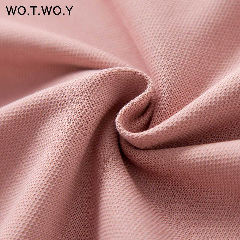 WOTWOY جديد عادية الوردي مقنعين مستقيم فساتين النساء الخريف الشتاء الأسود سميكة فضفاضة طويلة تي شيرت فستان سيدة منتصف العجل القطن