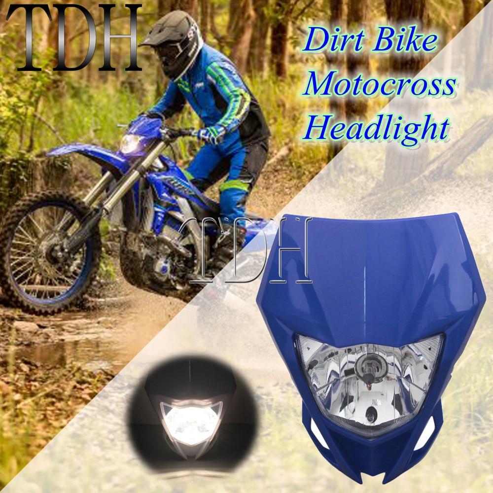 Синяя мотоциклетная двойная Спортивная фара, передняя фара для Yamaha YZ YZF WR WRF 125 230 250 250F 450F MX Enduro, передняя фара, обтекатель
