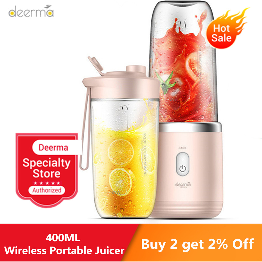 Deerma Wireless Electric Portable Juicer 400ml Automatic Multipurpose Mini USB Rechargable Juice Cup Blender Cut Mixer For Home