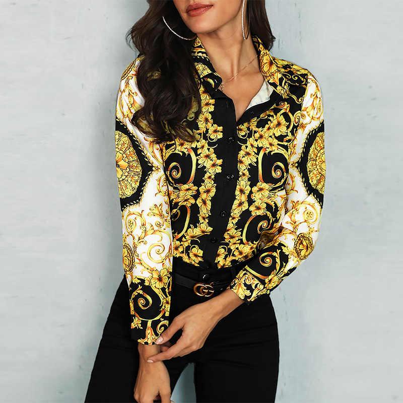 Palace Floral Gemischt Drucken Frauen Langarm Casual Shirt Damen Elegante Arbeitskleidung Bluse Shirts Weibliche Kurze Tops Streetwear