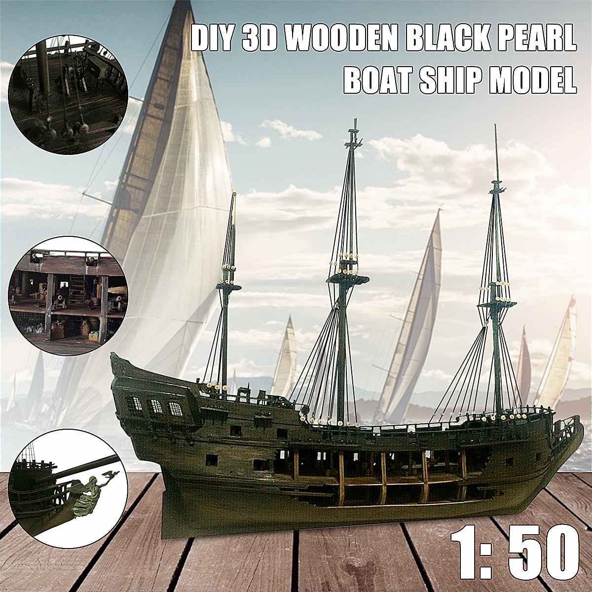 1:50 DIY The Black Pearl Model Ship Kits For Gift For Pirates Of The Caribbean Diy Set Kits Assembly Boat Toys Model Kit