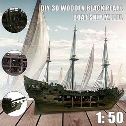 1:50 DIY The Black Pearl Model Ship Kits For Gift For Pirates Of The Caribbean Diy Set Kits Assembly Boat Toys model kit