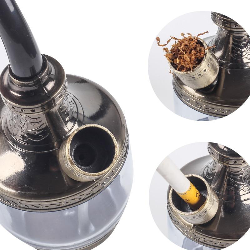 Portable Hookah Shisha Water Pipe Filter Cigarette Holder Smoking Tobacco Glass Bubbler Bong Hose Decorations Holiday Gifts Men 3