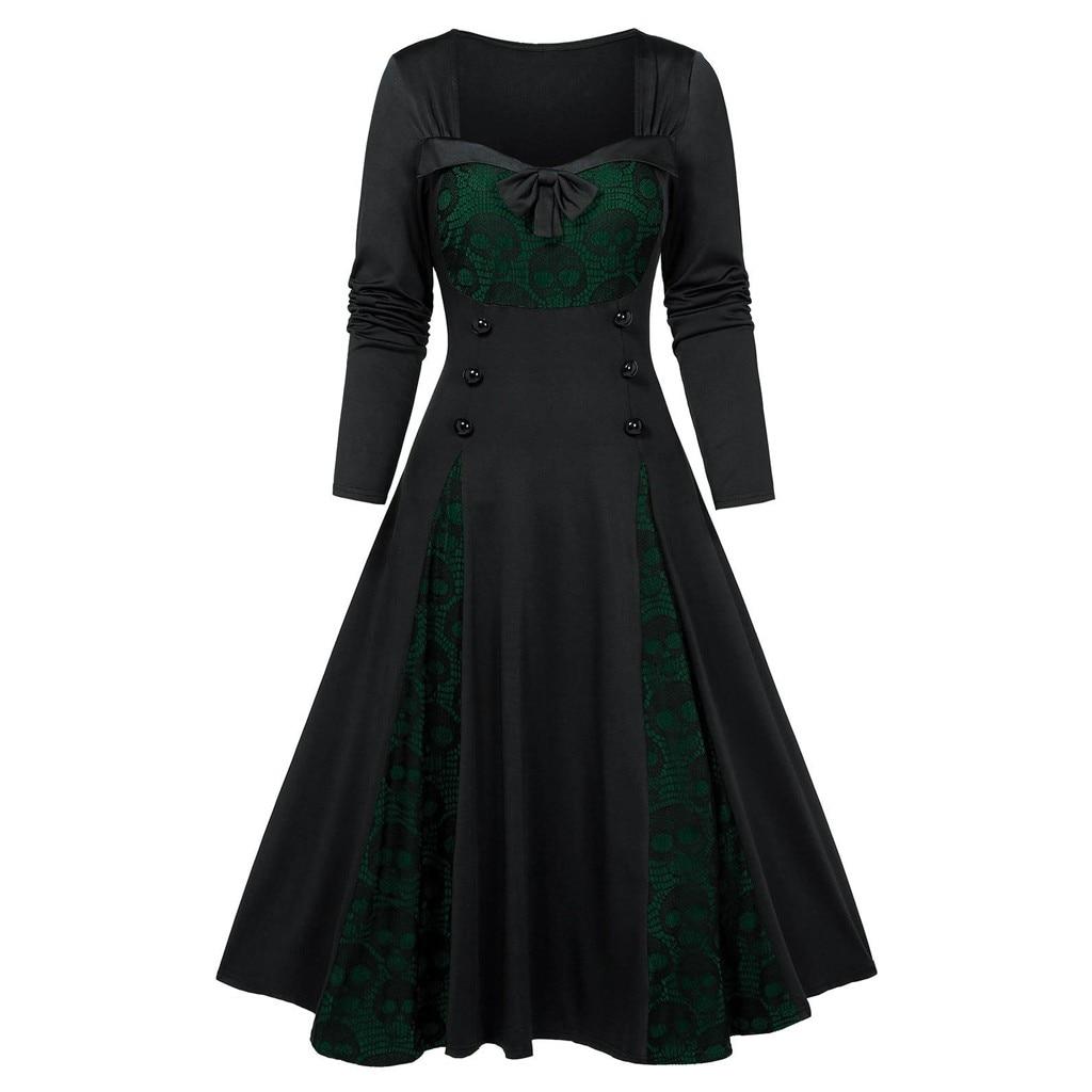 New Dresses Vintage Women Long Dress Plus Size Halloween Gothic Clothes Skull Lace Insert Mock Button