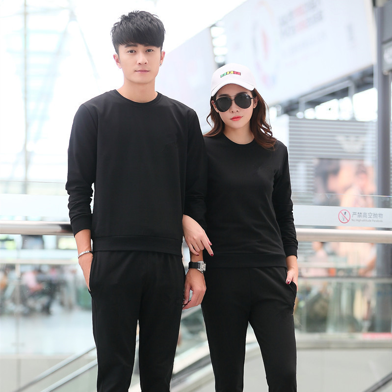 Spring And Autumn 2019 Couples Running Sports Set Crew Neck Suit Long Sleeve Trousers Leisure Sports Suit Groups Customizable