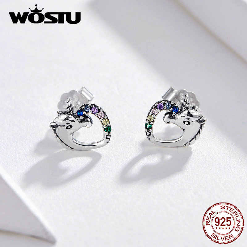 WOSTU עגילים לנשים 100% 925 סטרלינג כסף ירוק ועלה זהב משטח Stud עגילי Orecchini תכשיטים מתנות