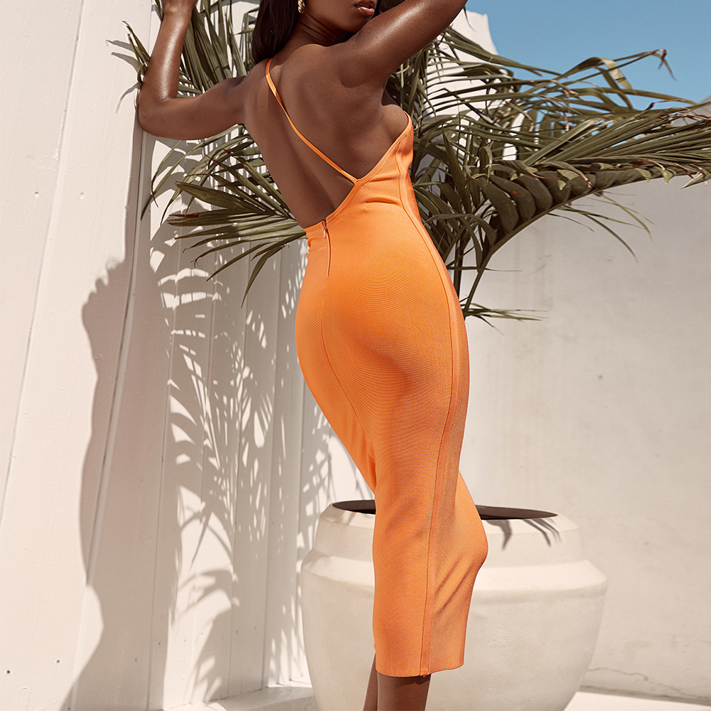 Ocstrade High Fashion Women 2019 New Summer One Shoulder Bandage <font><b>Dress</b></font> <font><b>Orange</b></font> <font><b>Sexy</b></font> Midi Bandage <font><b>Dress</b></font> Bodycon Party Club <font><b>Dress</b></font> image