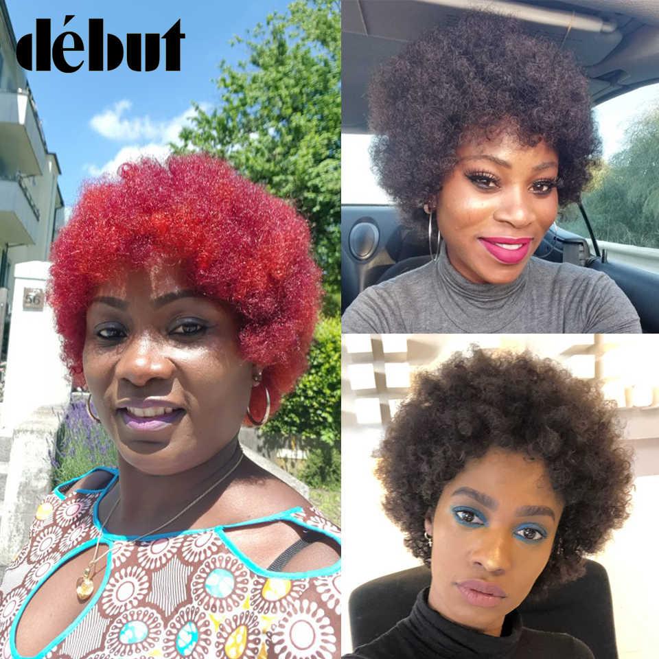 Goedkope Korte Bob Pruiken Rode Braziliaanse Menselijk Haar Afro Kinky Krullend Pruiken Voor Zwarte Vrouwen Volledige Machine Gemaakt Fashion Stijl bruin Pruiken
