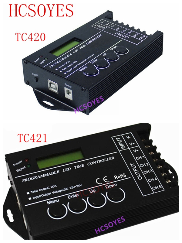 W upgraded TC420 TC421 time programmable 5 CH output led strip light controller