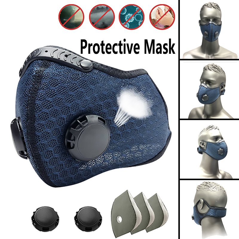 Breathable Protective Mask With Breathable Valve Replaceable Filter Core Riding Sports Mask Ddjustable Dust Mask Anti-bacteria