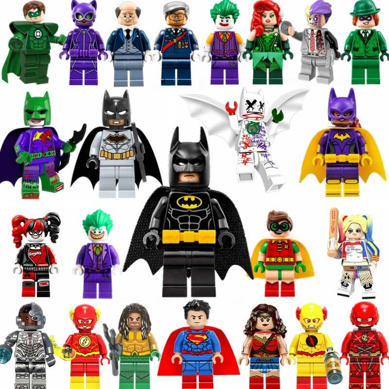 Per Batman Movie Figure Joker Harley Quinn Robin Superman Wonder Woman Aquaman Dc Super Heroes Building Blocks Giocattolo per I Bambini