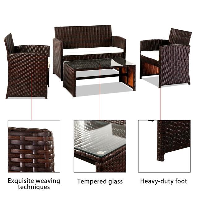 4 PCS Outdoor Rattan Chair Wicker Sofa Garden Bistro Sets  5