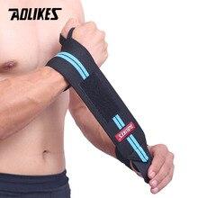 AOLIKES 1PCS สายรัดข้อมือ GYM ยกน้ำหนักการฝึกอบรมยกน้ำหนักถุงมือ Bar Grip Barbell สายรัด Wraps มือป้องกัน