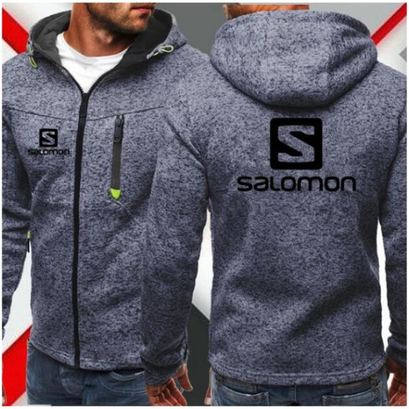 Hoodies Men Fashion Personality Zipper Salomon Sweatshirt Male Solid  Hoody Tracksuit Hip Hop Autumn Hoodies Mens