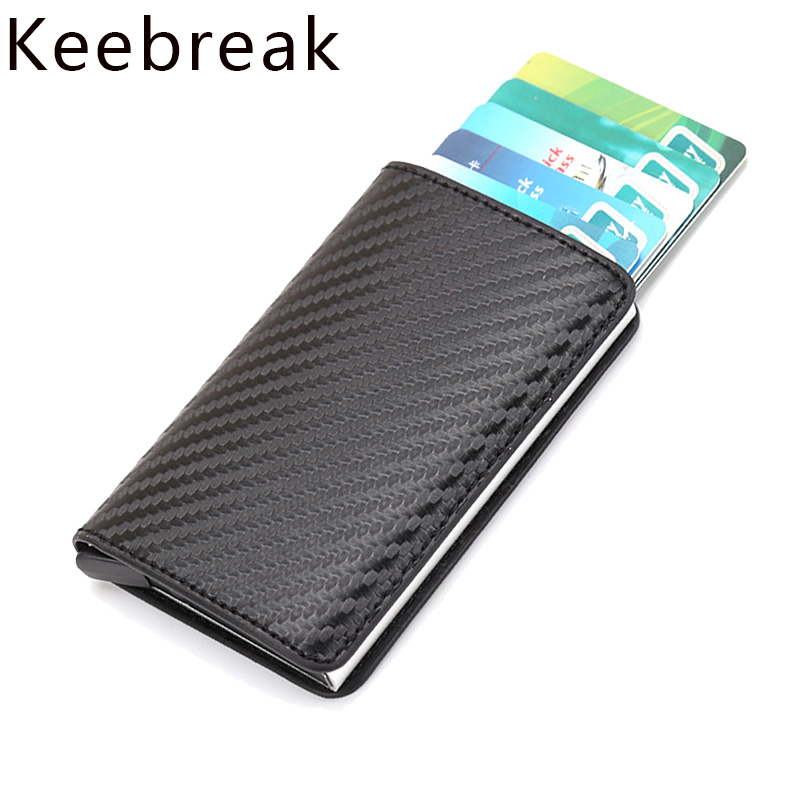 KEEBREAK Slim Wallet Purse Card-Holder Money-Bags Carbon-Fiber Rfid Thin Male Mini Men