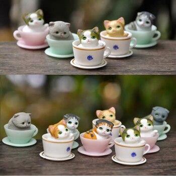 8pcs/lot Mini Kawaii Cup Cat animals model miniature Figurine Simulation Animals Miniature Toy Cute Ornaments for Home Office