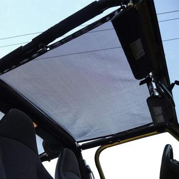 Sunshade UV Protection Mesh Shade Cab Bikini Top for 1997-2006 Jeep Wrangler TJ 2 Door and 1987-1999 YJ in Black Flag