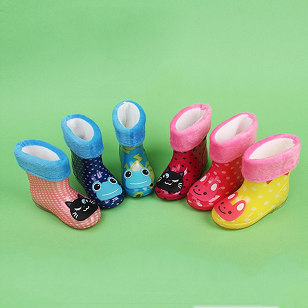 Waterproof Child Cute Animal Rubber Infant Baby Rain Boots Kids Warm Rain Shoes резиновые сапоги детские Bottes Pour Enfants