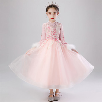 2019Winter Luxury New Girls Children Warm Long Sleeves New Year Party Birthday Princess Embroidery Lace Fluffy Dress Clothes