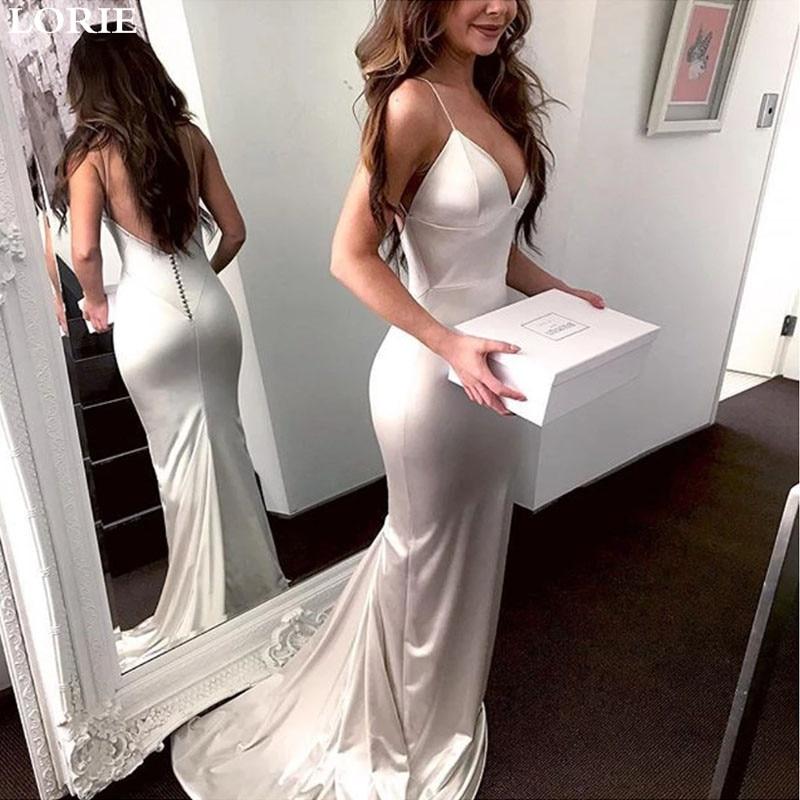 LORIE Mermaid Wedding Dress Spaghetti Straps Sexy  Backless Bridal Gown Wedding Bride Dress Vestidos De Novia