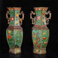 Cinese Cloisonne Bronzo Ottagonale Vaso Plum Orchid Bamboo Crisantemo Vaso Ornamento Famiglia Geomanzia Decorazione Regalo