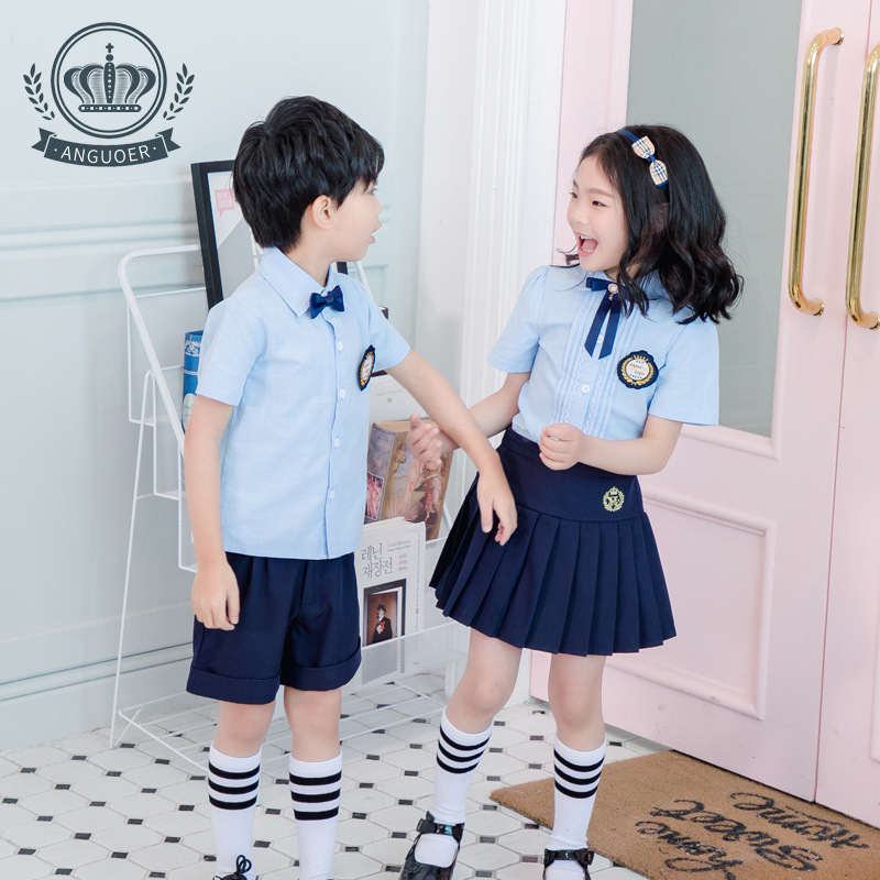 Kindergarten Suit Summer Wear New Style CHILDREN'S Shirt Pleated Skirt Set Graduation Clothing Secondary School Primary School U