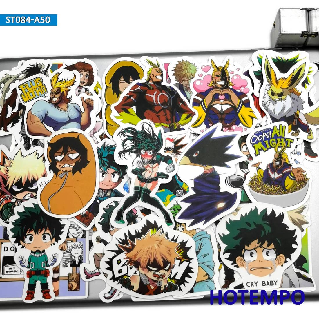 50pcs Anime Midoriya Izuku All Might My Hero Academia Stickers Toys For Mobile Phone Laptop Luggage Skateboard Cartoon Stickers