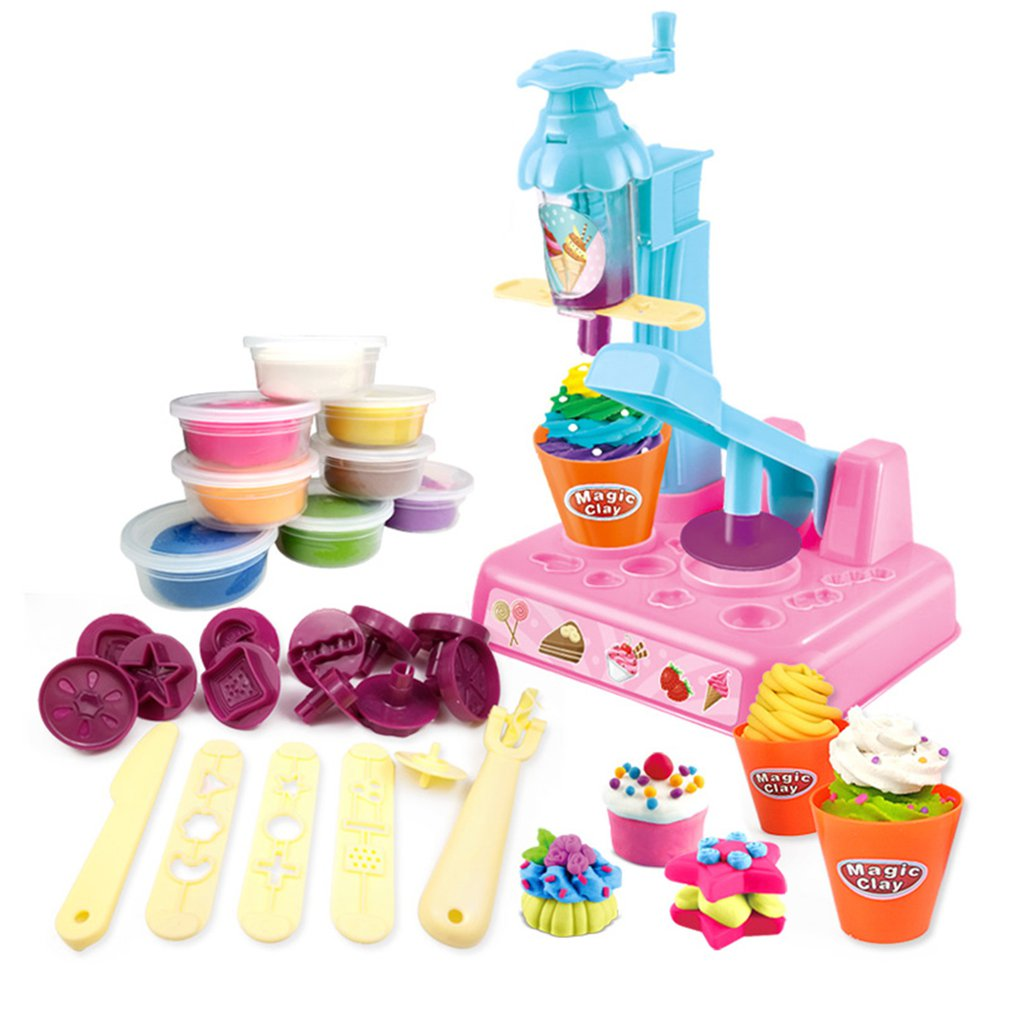 Children'S Plasticine Mold Ice Cream Set Ice Cream Pasta Machine Clay Toy Color Mud Manual Mud Parent-Child Interaction