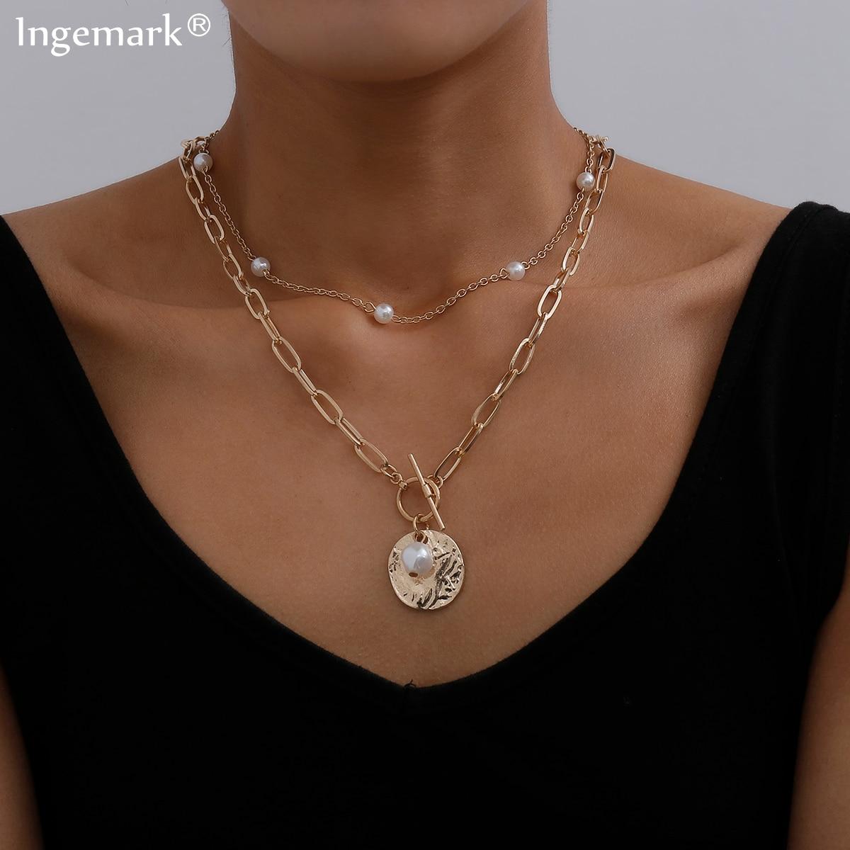 Collana girocollo con ciondolo a forma di moneta barocca gotica per donna regalo di gioielli con collana a catena lunga Color oro Lariat 1