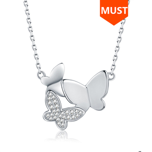 Image 1 - SG chain necklace women jewelry 925 sterling silver 3 butterfly necklaces with cz Fashion Party jewelry 2019 NEW arrive