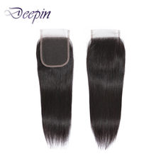 Deepin Hair 4X4 Straight Lace Closure Free/Middle/Three Part 8-22 Inches Natural Color Non-Remy Peruvian Human Hair Pieces