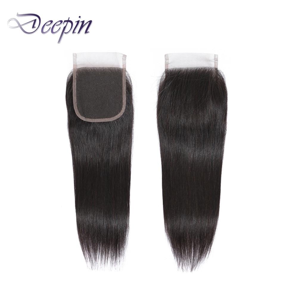 Deepin cabelo em linha reta 4*4 fechamento do laço livre/meio/três partes 8-22 polegadas não remy cabelo peruano para a cor natural feminina