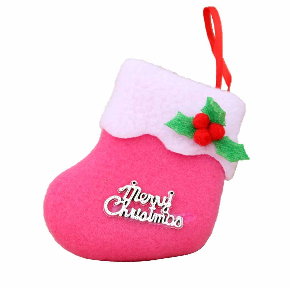 Cute Christmas Stockings Pendant Cloth Ornaments Santa Clause Small Boots Pendant Christmas Party Home Decor Gift Bag