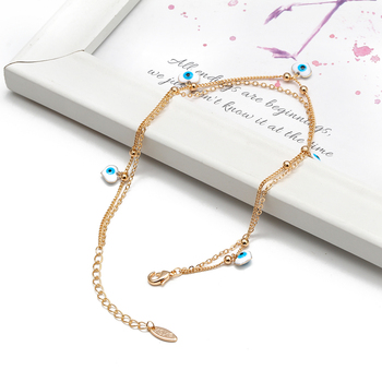 Lucky Eye Water Drop Star Heart Charm Anklet Multi Layer Gold Color Foot Chain Evil Eye Ankle Bracelet for Women Jewelry BD78 3