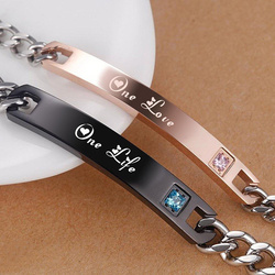 Vnox Romantic Couples Bracelets for Him and Her Stainless Steel One Life One Lovers Bracelet Best Anniversary Gifts