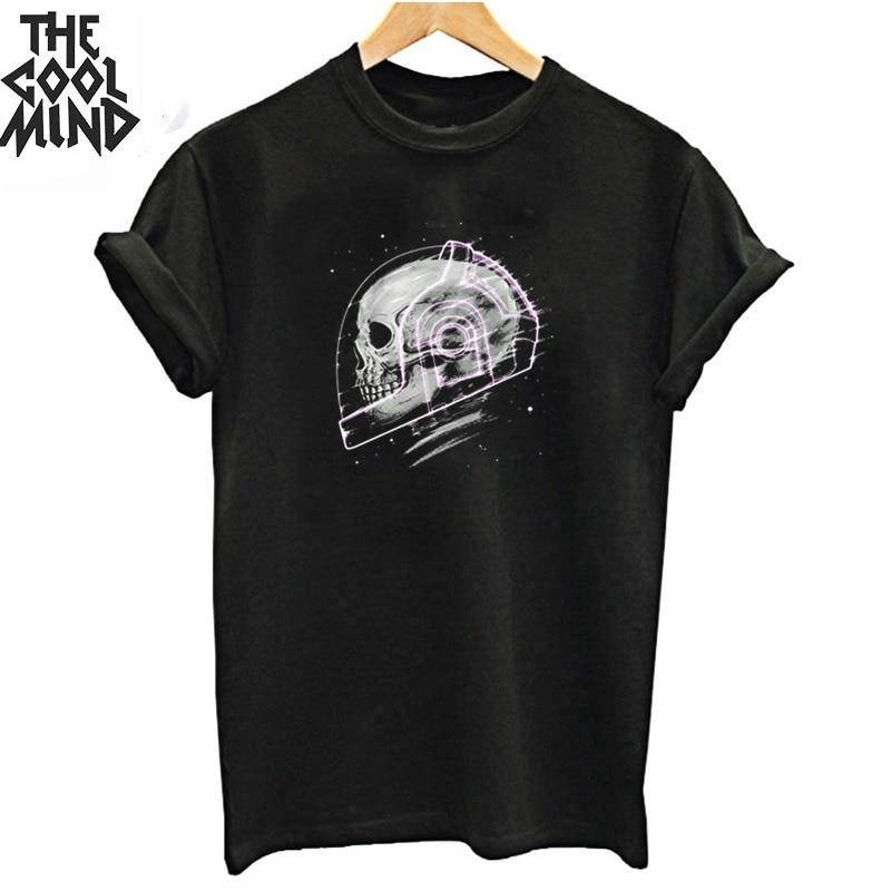 COOLMIND 100% Cotton Short Sleeve Cool Space Man Print Women T Shirt Casual Women T-shirt Loose Women Tshirt Male Tee Shirts