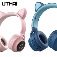 UTHAI D37 TWS taşınabilir kablosuz Bluetooth kulaklık 5.0 Stereo kedi kulak kablosuz kulaklık için Android / los / Windows kulaklık
