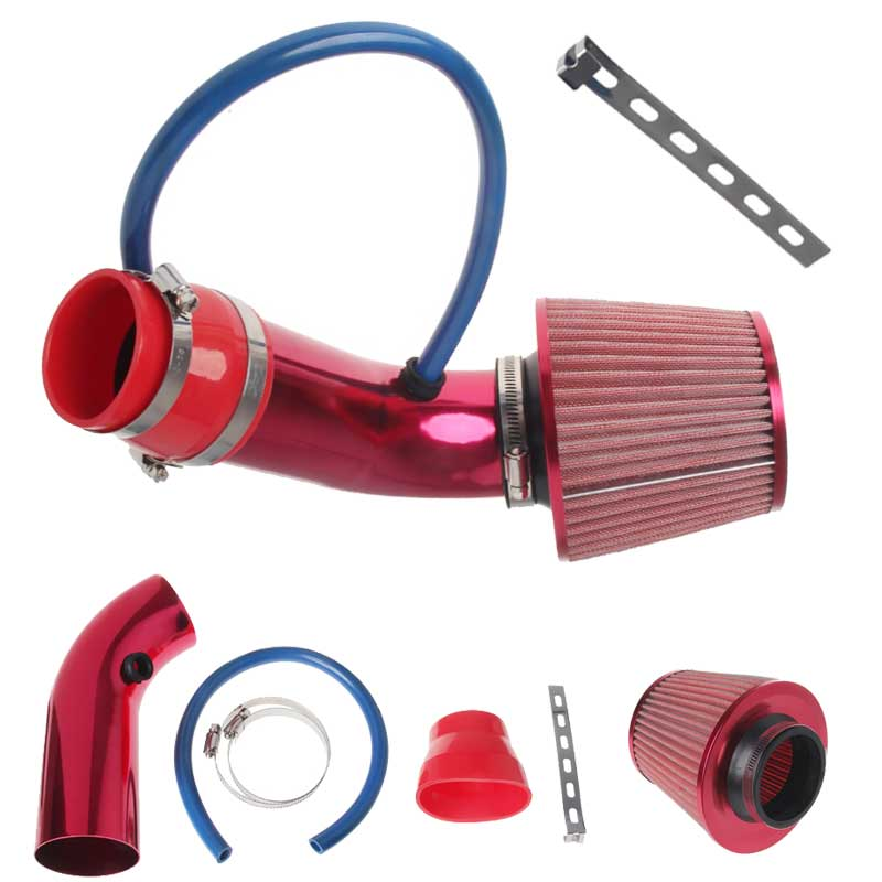 """Hot New 1 set of 76mm 3"""" car air-conditioning open conical air intake pipe kit filter tube system universal chrome 3"""" air inlet"""