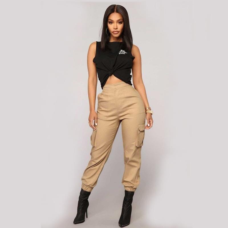 Женские армейские шаровары, камуфляжные штаны с высокой талией, камуфляжные свободные джоггеры, уличная одежда в стиле панк, черные карго, ж...