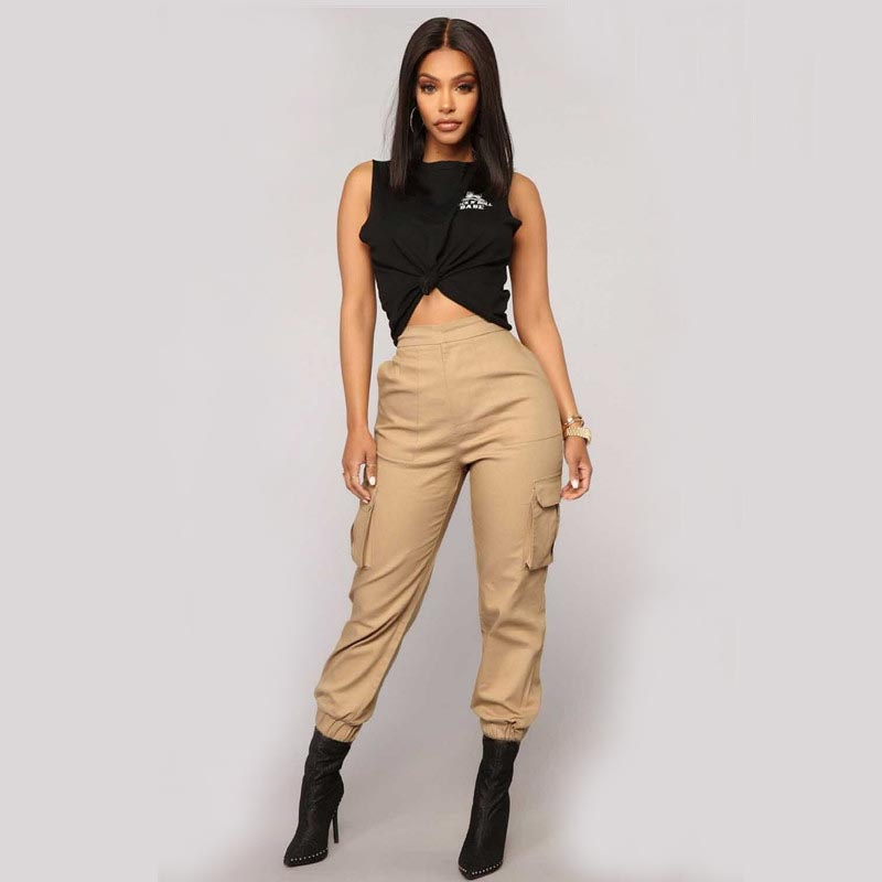 Women Army Harem Camo   Pants   High Waist   Pants   Camouflage Loose Joggers Streetwear Punk Black Cargo Ladies   Capris   Trousers Female
