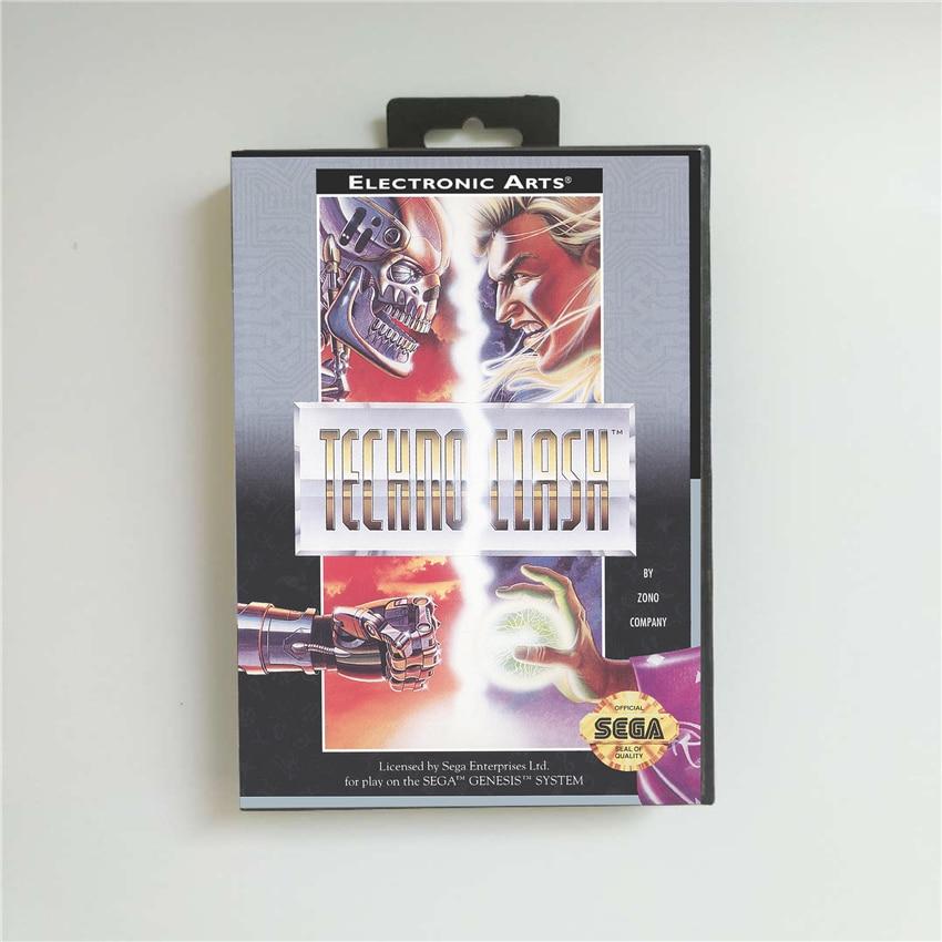 TechnoClash Techno Clash- USA Cover With Retail Box 16 Bit MD Game Card for Sega Megadrive Genesis Video Game Console