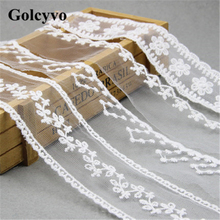 1Meter White Gauze Embroidery Lace Trims Edge Wedding Dress Skirt DIY Sewing Crafts Charms