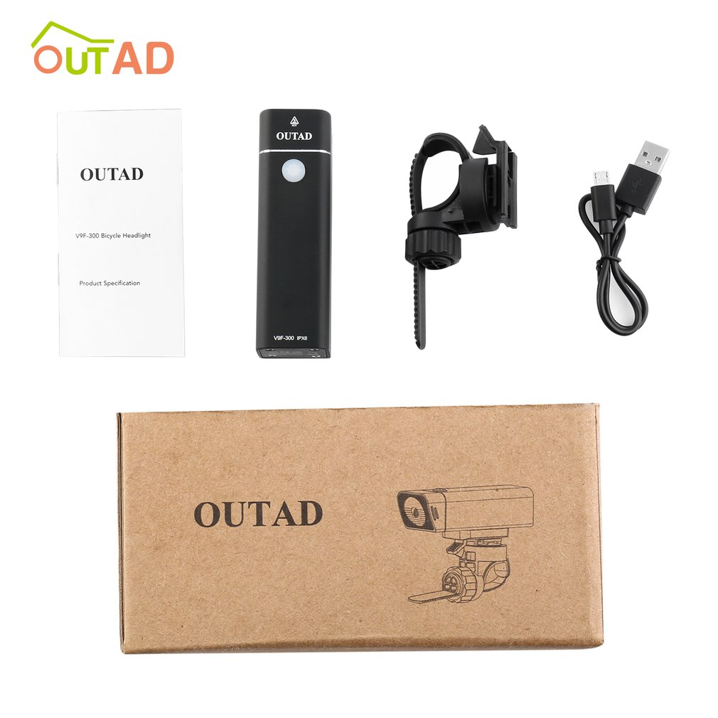 Outad 300Lm Bicycle Front Light Bike Flashlight Torch 4 Modes Ipx6 Waterproof Usb Charging Safety Light With Bracket